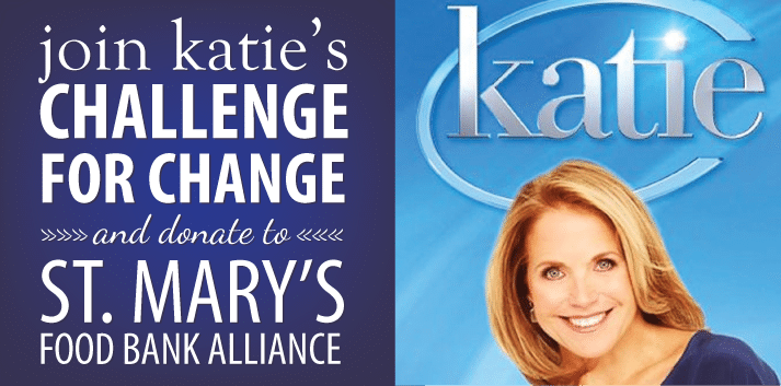 Join Katie Couric and help fill the shelves of St. Mary's Food Bank Alliance on Nov. 7
