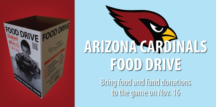 Support St. Mary's at the AZ Cardinals Food Drive
